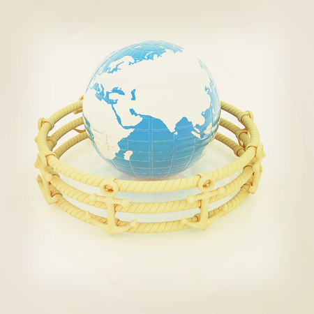 rope barrier: Design fence of anchors on the ropes and Earth in the center. 3D illustration. Vintage style.