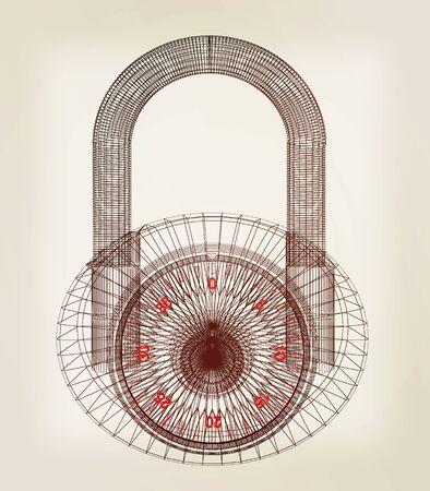 pad lock: pad lock . 3D illustration. Vintage style.
