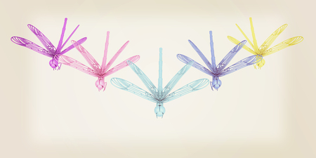 Dragonflies. 3D illustration. Vintage style.
