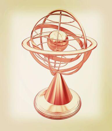 globe  the terrestrial ball: Terrestrial globe model . 3D illustration. Vintage style.