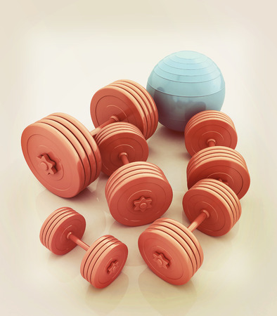 fitball: Fitness ball and dumbell. 3D illustration. Vintage style.