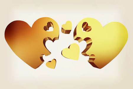 3d hearts family concept. 3D illustration. Vintage style. Stock Photo