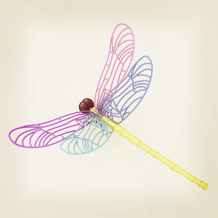 Dragonfly. 3D illustration. Vintage style.