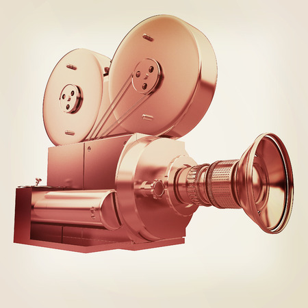 16mm: Old camera. 3d render. 3D illustration. Vintage style. Stock Photo