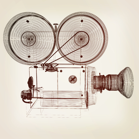 archival: Old camera. 3d render. 3D illustration. Vintage style. Stock Photo