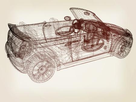 3d model cars . 3D illustration. Vintage style. Stock Photo