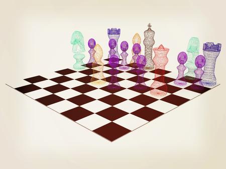 Chess. 3D illustration. Vintage style.