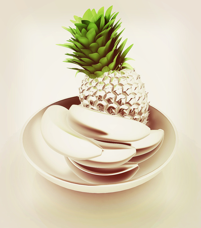 Metall citrus in a dish. 3D illustration. Vintage style.
