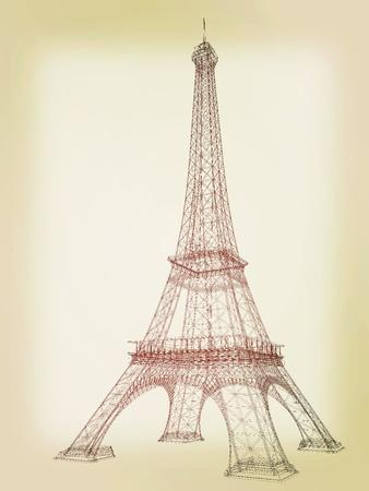 render 3d: 3d Eiffel Tower render. 3D illustration. Vintage style.