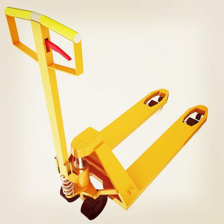 sacktruck: 3d model pallet jack. 3D illustration. Vintage style.