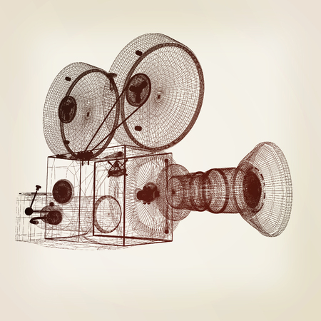 Old camera. 3d render. 3D illustration. Vintage style. Stock Photo
