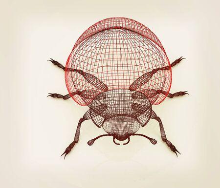 beetle. 3D illustration. Vintage style.