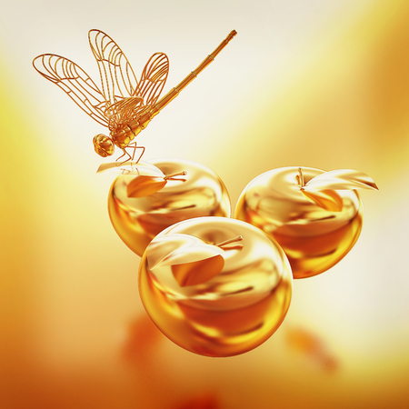 Dragonfly on gold apples. 3D illustration. Vintage style. Stock Photo