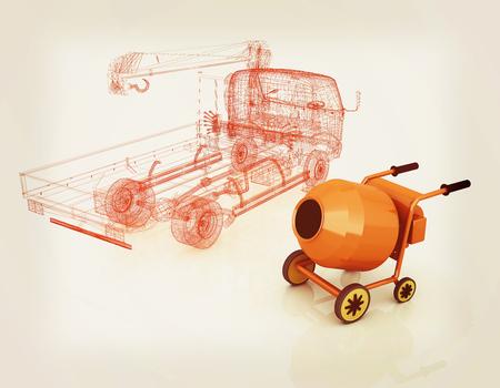 3 d モデル コンクリート ミキサーとトラック。3 D イラスト。ビンテージ スタイルです。