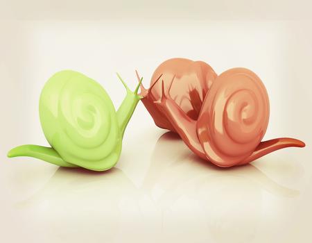 3d fantasy animals, snails on white background . 3D illustration. Vintage style. Stock Photo