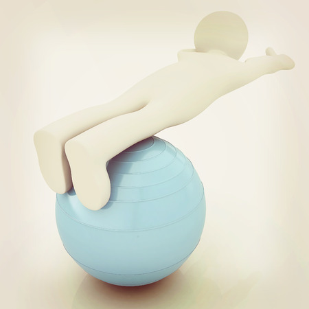 abdominal muscle exercises: 3d man exercising position on fitness ball. My biggest pilates series. 3D illustration. Vintage style.