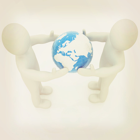 outstretched hand: 3d mens around the earth kindly make contact. 3D illustration. Vintage style. Stock Photo