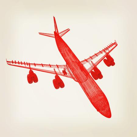 Airplane. 3D illustration. Vintage style. Stock Photo