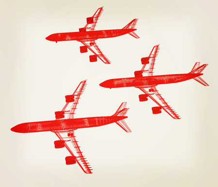 Airplane. 3D illustration. Vintage style. Stock Photo