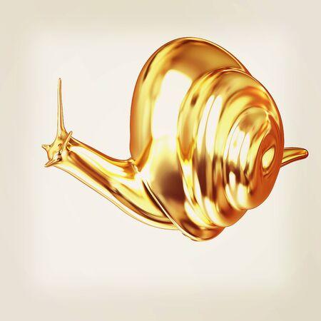 slow food: 3d fantasy animal, gold snail on white background . 3D illustration. Vintage style.