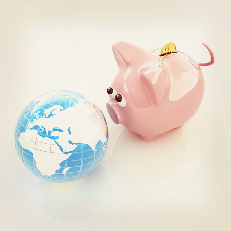 global retirement: global saving . 3D illustration. Vintage style. Stock Photo