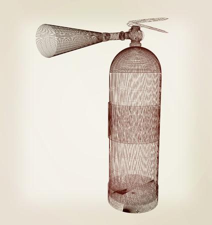suppression: fire extinguisher. 3D illustration. Vintage style. Stock Photo