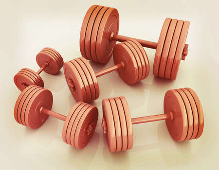 Fitness dumbbells. 3D illustration. Vintage style. Stock Photo