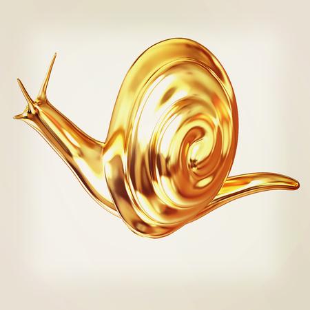 3d fantasy animal, gold snail on white background . 3D illustration. Vintage style.