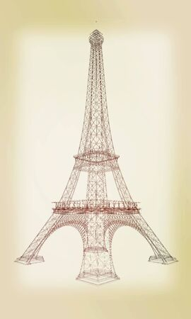 tower tall: 3d Eiffel Tower render. 3D illustration. Vintage style.