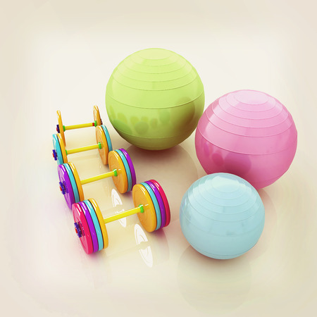 dumbell: Fitness ball and dumbell. 3D illustration. Vintage style.