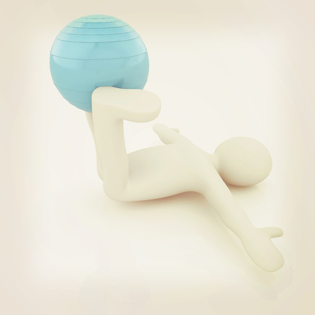 abdominal exercise: 3d man exercising position on fitness ball. My biggest pilates series. 3D illustration. Vintage style.
