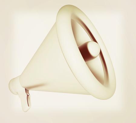 loudhailer: Loudspeaker as announcement icon. Illustration on white . 3D illustration. Vintage style.
