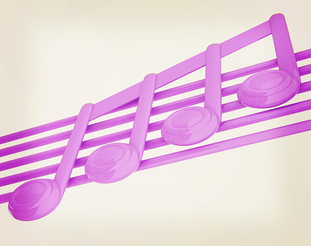 3d music: 3D music note on staves. 3D illustration. Vintage style. Stock Photo