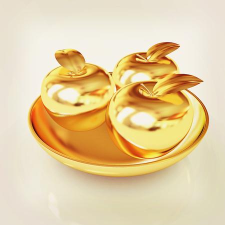 Gold apples on a plate. 3D illustration. Vintage style.