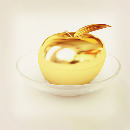 golden apple: Gold apple on a plate. 3D illustration. Vintage style.