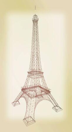 3d Eiffel Tower render. 3D illustration. Vintage style.