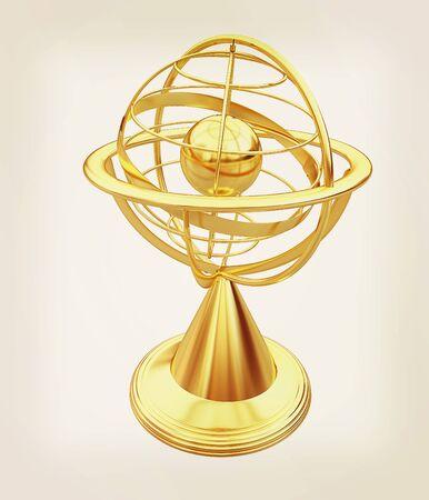 Terrestrial globe model . 3D illustration. Vintage style.