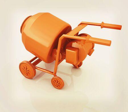 Concrete mixer. 3D illustration. Vintage style.