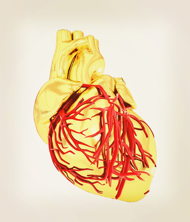 Human heart. 3D illustration. Vintage style.