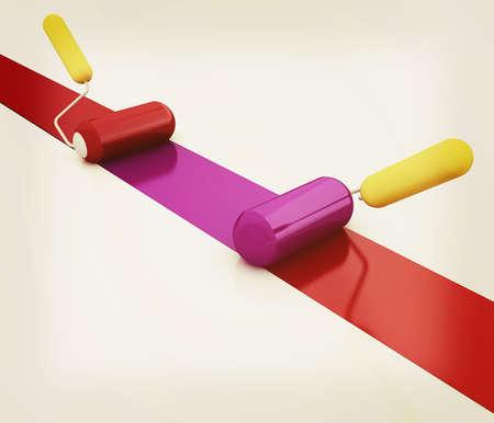 3d rollers brushes. 3D illustration. Vintage style.