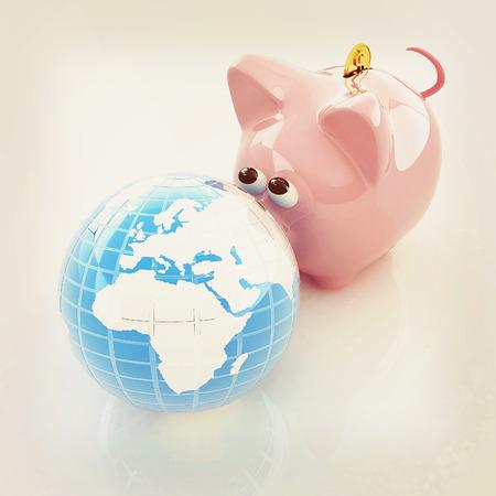 global saving . 3D illustration. Vintage style. Stock Photo