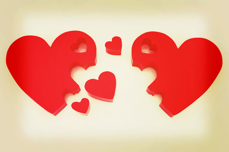 affiance: 3d hearts family concept. 3D illustration. Vintage style. Stock Photo