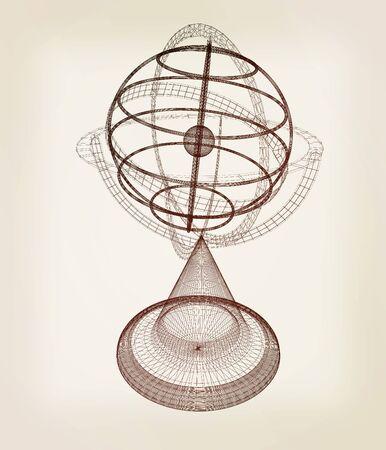 earthly: Terrestrial globe model . 3D illustration. Vintage style.