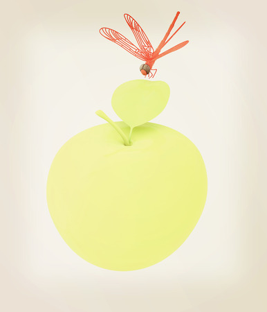 Dragonfly on apple. 3D illustration. Vintage style. Stock Photo