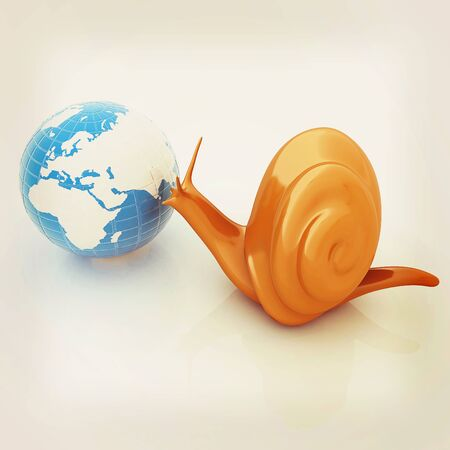 3d fantasy animal, snail and earth on white background . 3D illustration. Vintage style.