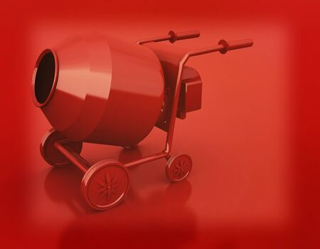 Concrete mixer. 3D illustration. Vintage style.