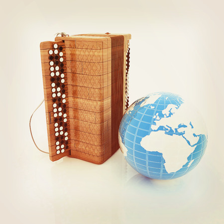 Musical instrument - retro bayan and Earth. 3D illustration. Vintage style.