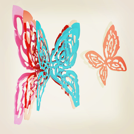 3d butterfly: Butterfly interior design. 3D illustration. Vintage style.