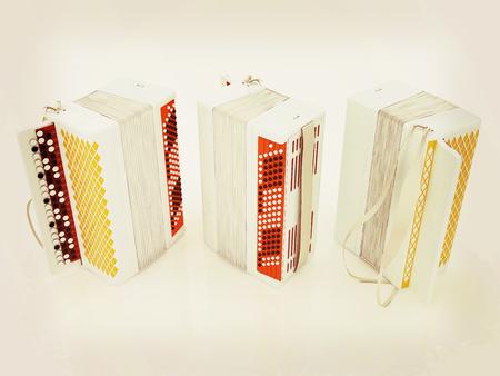 acordeon: Musical instruments - bayans. 3D illustration. Vintage style.