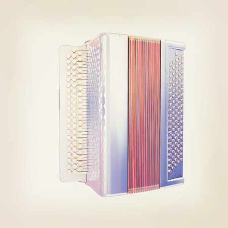 concertina: Musical chrome icon instruments - bayan. 3D illustration. Vintage style.